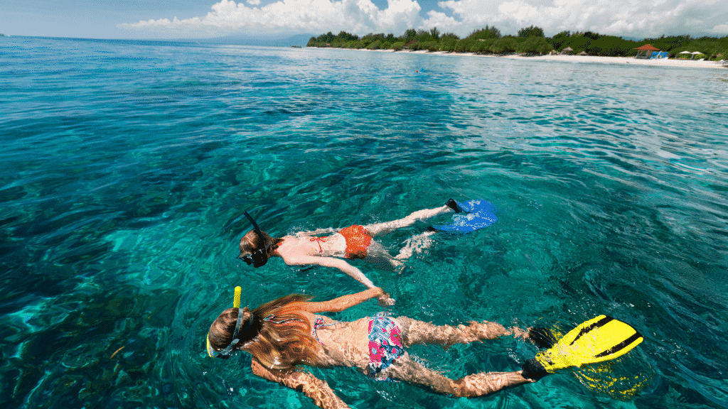 A couple going snorkling