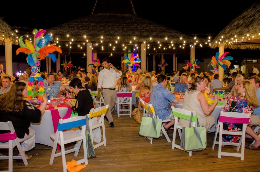 A tropical company party.