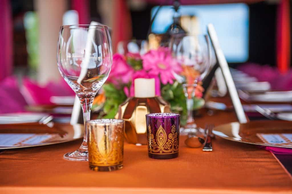 Wine glasses on a decorated table
